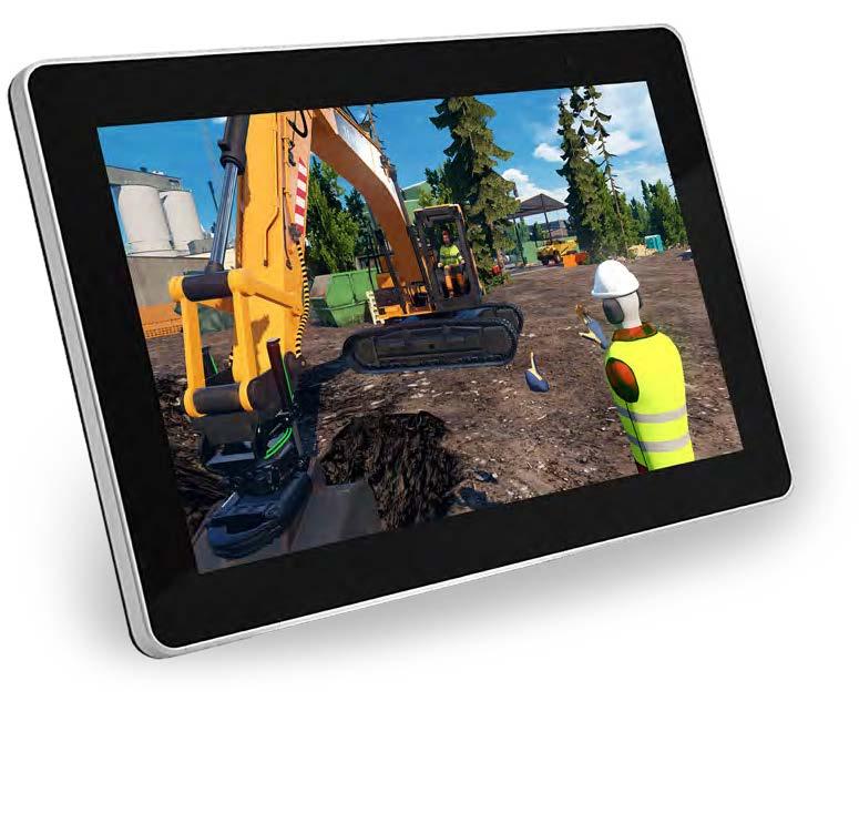 Het gebruik van de graafmachine simulator weergegeven op tablet   HK Simulatoren